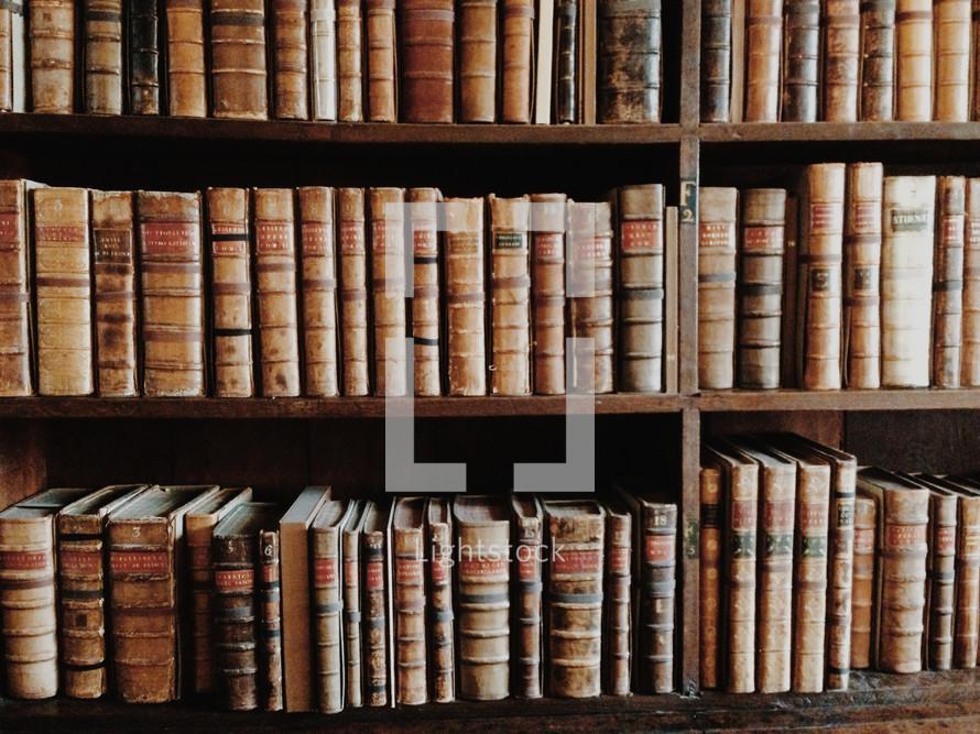 Bookshelves of antique books.