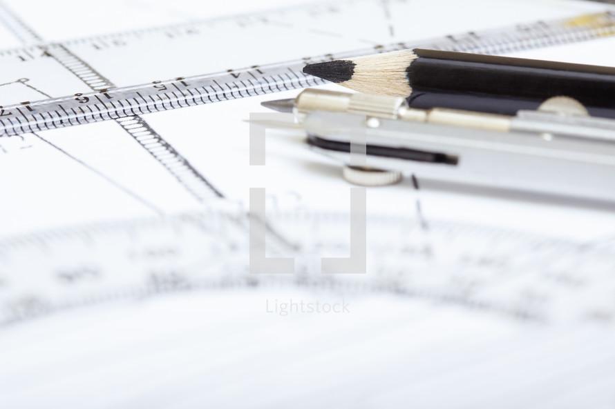 protractor and pencils