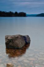 rock in a lake