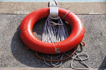 Life ring, lifeboat, lifesaver or reduce ring against concrete wall