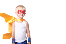little kid dress up as super hero.