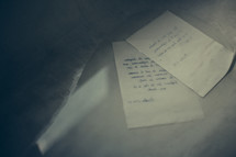 letter on the floor