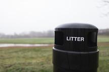 trash bin at a park