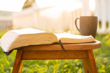 open Bible and coffee mug in a wood chair outdoors