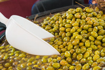Delicious green olives in the market. Olives from Jaen