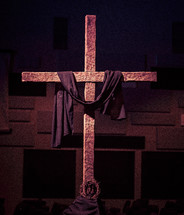 An Easter Cross with Purple shroud and crown of thorns