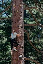 a woman climbing a tree with climbing pegs