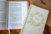 open Bible with highlighted scripture and notebook