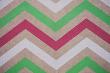 Chevron pattern of red, green and white.