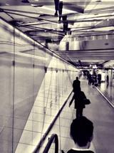 walking through an airport