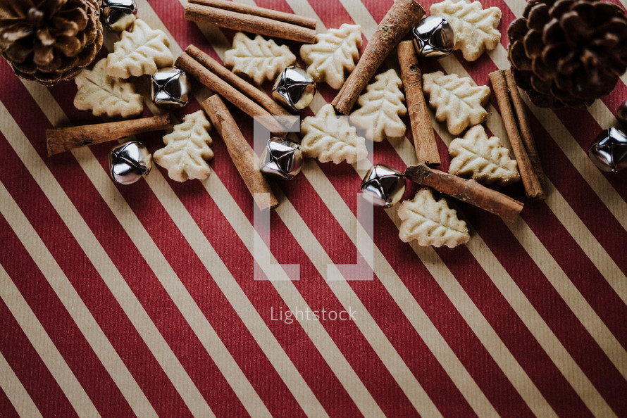 Christmas border on wrapping paper background
