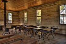 an old school house classroom and desks
