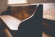 row of wooden pews