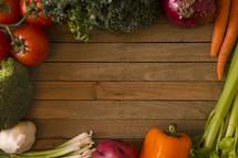 vegetable border on wood
