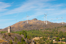 wind turbines on a mountaintop