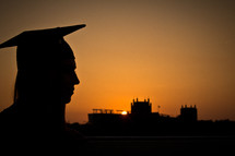 silhouette of a female graduate