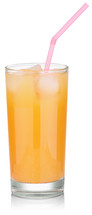 orange juice in a glass with a straw
