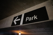 park sign and arrow