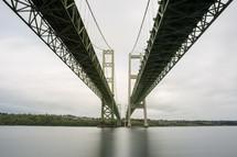 bridges stretching across a river