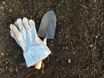 shovel and gloves in dirt