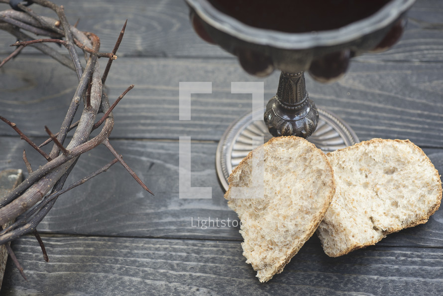 communion bread and wine and crown of thorns