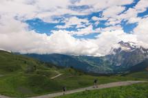 couple hiking through the mountains