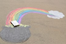 a glowing Bible in a pot of gold at the end of a rainbow