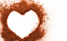 red spices in the shape of a heart