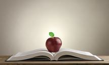 apple on the pages of a book