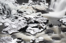 Waterfall into an icy stream.