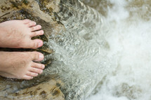 wet bare feet