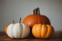 orange and white pumpkins on a wood table
