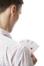 a man holding Aces