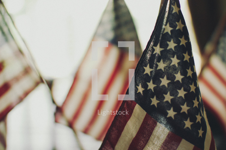 small handheld American flags