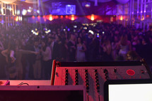 soundboard and crowds at a concert