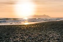 beach shore at sunset