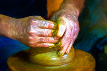 a man sculpting clay on a potters wheel