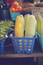 corn on the cob in a farmers market