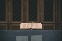 open Bible on the altar
