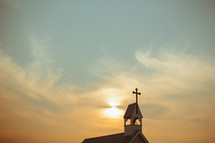 church and steeple at sunset