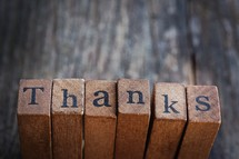 word thanks on wood blocks