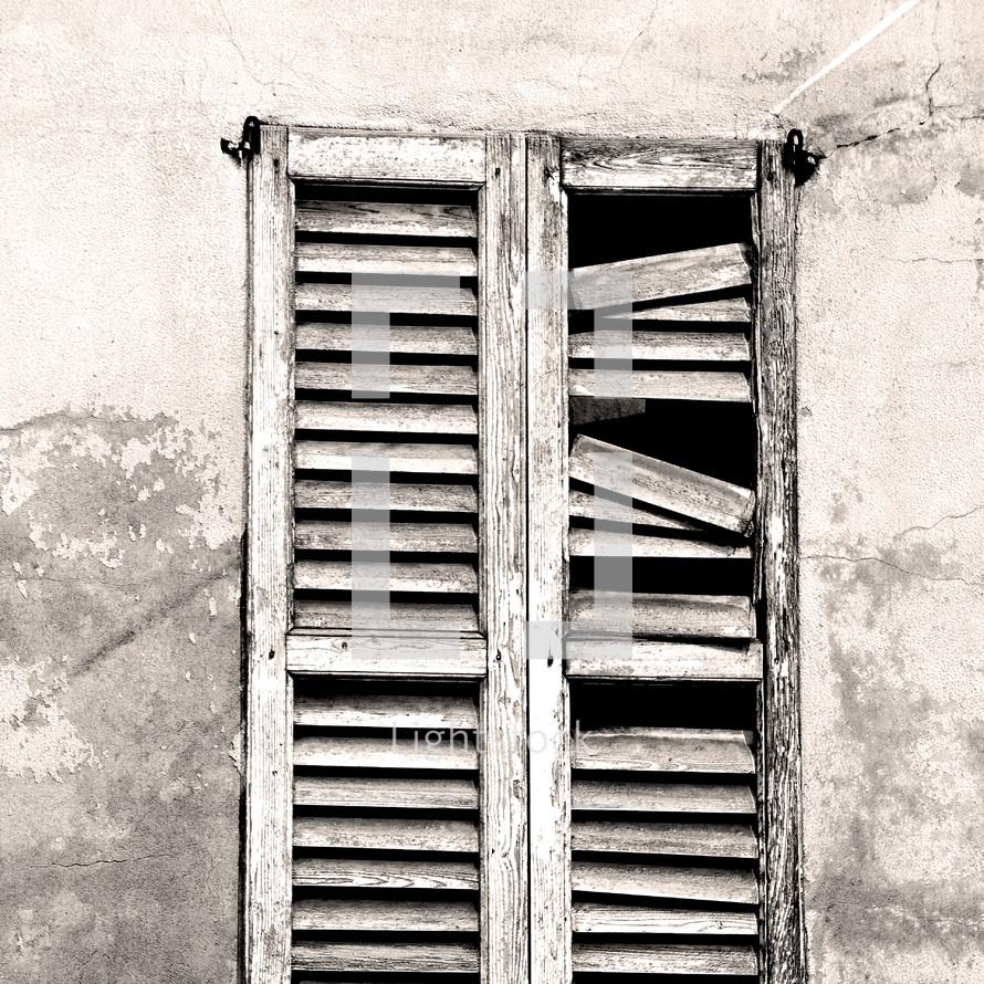 broken shutters