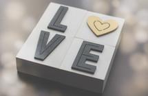 word love in wooden blocks