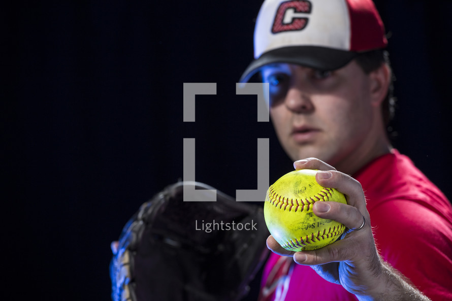 pitcher throwing a softball