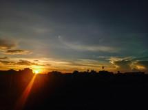 sunbeam at sunset