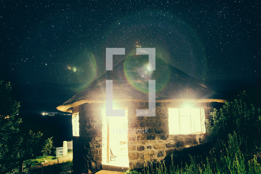 huts, stars, night, sky, outdoors, space, village