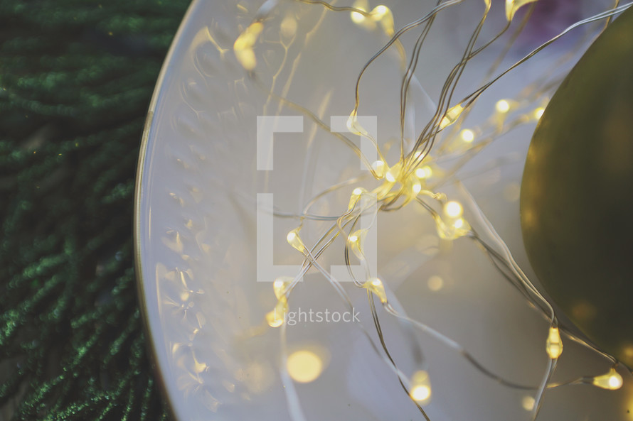 fairy lights on decorative plate
