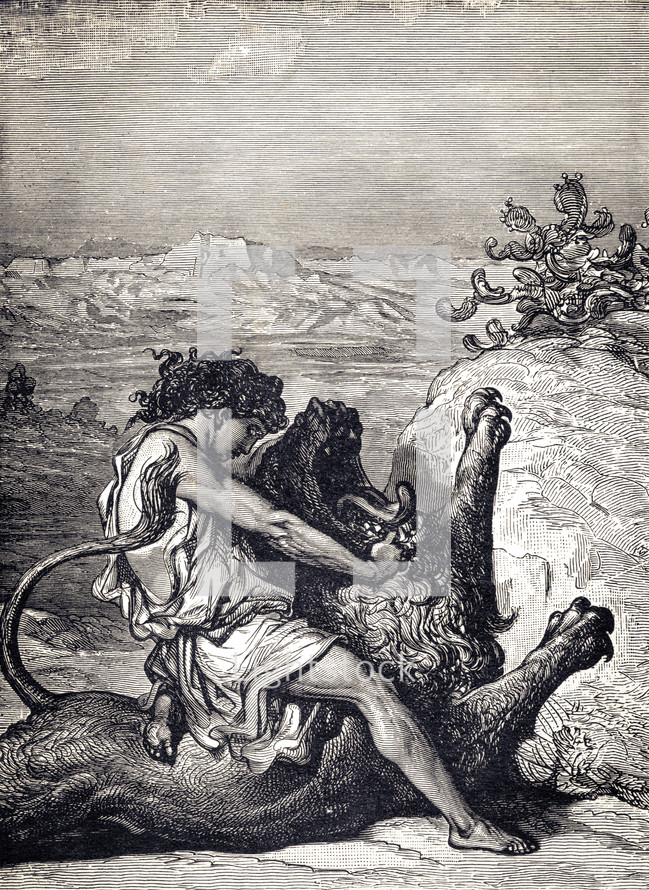 A painting depicting Samson fighting a lion.