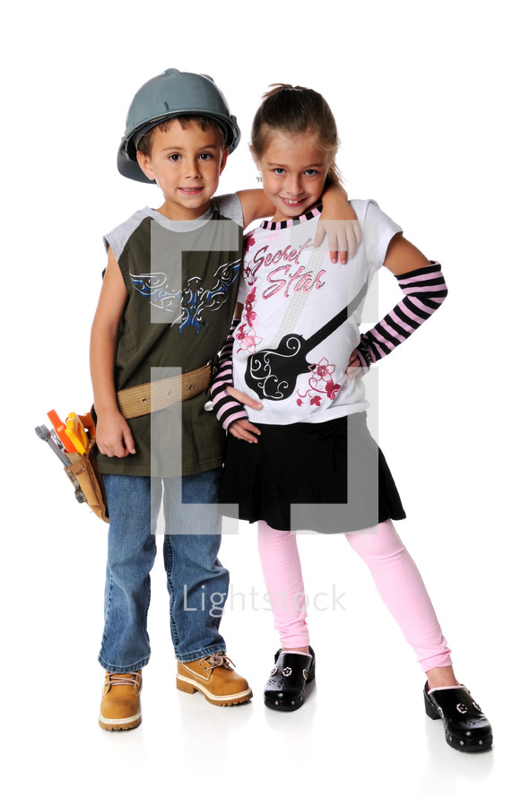 Boy and girl hugging, boy dressed as a workman