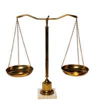 A brass scale.